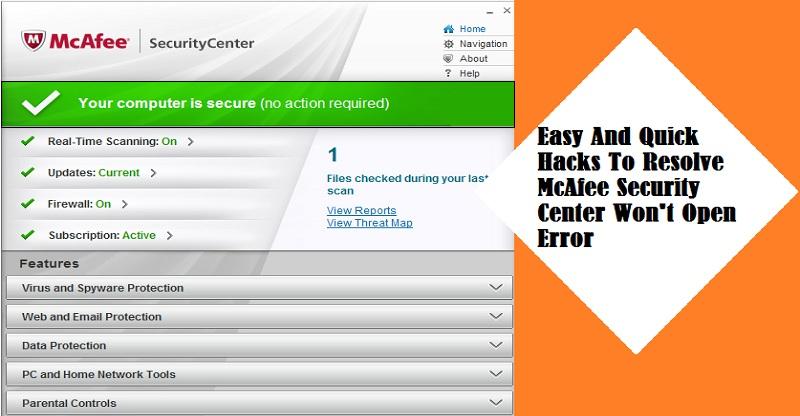 McAfee Security Center Won't Open Error